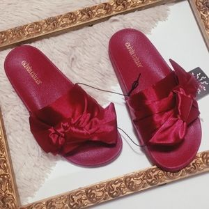 Olivia Miller Burgundy Satin Bow Slide Sandals